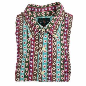 J. Crew Vintage 90s Corduroy Print Button Down Collar Shirt Men Small Multicolor